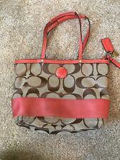 Coach Signature Stripe Tote Khaki Rose Shoulder Bag Handbag Purse F19046