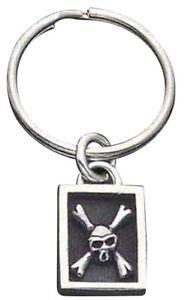 Sterling Silver Framed Skull & Crossbones Key Ring - KR21