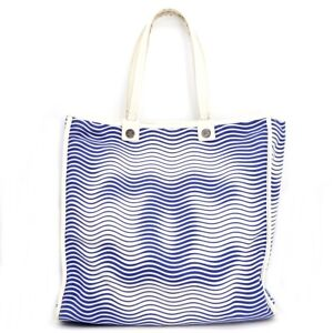 CHANEL Coco Mark Canvas Tote Bag Canvas Leather Hand Blue Ladies 21012185MY