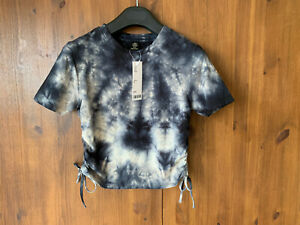 RRP £24 - URBAN OUTFITTERS T-Shirt Top Grey Tie Dye Crop Ruched M / UK 10 - BNWT