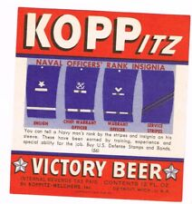 1940s WWII Set label KOPPITZ Victory Beer #56 US Navy Insignia 2 Detroit