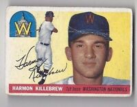 1955 Topps baseball card #124 Harmon Killebrew, Washington Nationals Fair ROOKIE