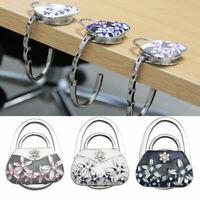 Folding Rhinestone Purse Bag Support Hanger Handbag Holder Table Table Hook G3X2