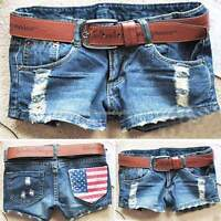 Sexy Summer Womens Vintage Denim Low Waist Blue Jean Shorts Distressed HOT Pants
