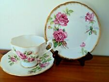 Queen Anne / Royal Stafford  mixed trio - Large pink roses  - like new !