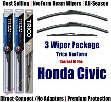 3-Pack Wipers Front & Rear - NeoForm - fit 1980-1983 Honda Civic - 16160x2/30130