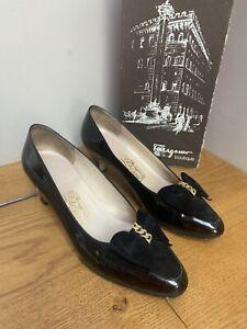 Salvatore Ferragamo Vintage Black Patent Court Shoes With Bow Size US 8B UK 5.5