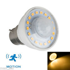 3W LED BC B22 PIR Presence Motion Sensor Detector Light Bulb Warm White 3000k