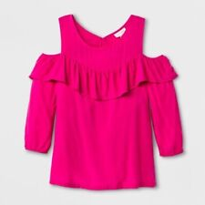 Cat & Jack Girl's Size XS 4/5 Cold Shoulder Ruffle Top