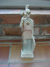 belle sculpture peinte Athena Grecque socle égide bouclier python lance 24 cm
