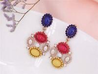 Earrings Nails Golden Chandelier Mini Pearl Multicolored Blue Yellow Aa 15