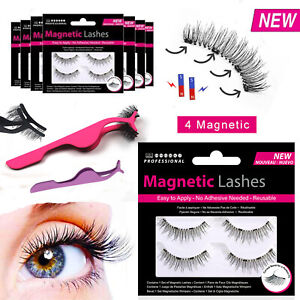 Magnetic Eyelashes - Wispies False Fake Lashes Long Applicator Tweezers No Glue