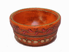 Indian Old Vintage Unique Wooden Water Color Painting Bowl Decorative Wd 244