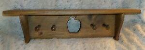 "Country pine wood wall shelf, 5 1/2"" x 24"", apple cutout, 4 pegs, 6 3/4"" high"