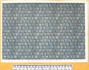 """Dolls house 1/12th scale """"Cobblestone road paving - part worn"""" paper - A4 sheet"""