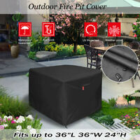 """36"""" Square Fire Pit/Table Cover 210D Coating Patio Outdoor Cover Waterproof US"""