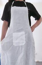Women Lady Girl White Simple Kitchen Chef Barbecue Protective White Apron Smock