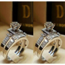 Women White Sapphire 925 Silver Ring Set Wedding Engagement Jewelry Gift Size 9