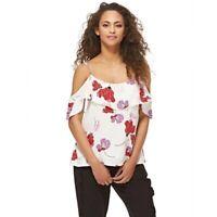NWT BARDOT Women's Sz L Kendra Frill Cold Shoulder Top $69 Msrp