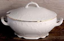 Porcelain Soup Tureen Bowl with handles 2,7L Gold Rimmed Fine Large Serving Stew