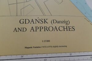 VINTAGE ADMIRALTY CHART GDANSK AND APPROACHES GDYNIA