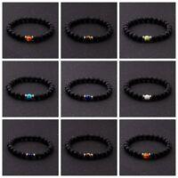 Women Mens Bracelet Natural Lava Stone Reiki Chakra Beads Diffuser Bracelet
