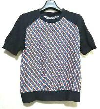 Geometric print silk top with navy trim