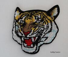 Aufnäher Aufbügler Tiger (3) Kopf Katze ca. 7,5 x 8 cm Bügelbild Patch gestickt