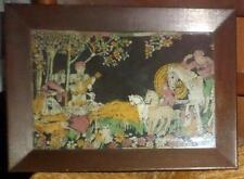 Vintage Black Felt Painting Circa 1920's Country Scene Framed behind glass LR