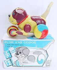China MF PUSH AND GO DOG Tin Friction Toy Character Figure MIB`75 VERY RARE!