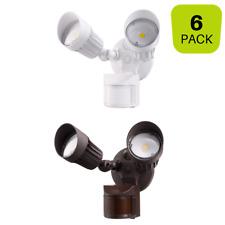 Dual Head LED Security Light 20W Motion Sensor Dusk to Dawn White Bronze 6 Pack