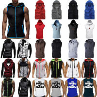 Men's Sleeveless Zip Up Hoodie Hooded Vest Sweatshirt Tank Tops Workout Gym Coat