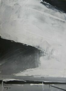 "JOSE TRUJILLO Acrylic Painting 11x15"" Black & White Monochrome Clouds Art 1/30"