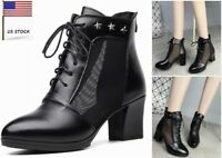 US Women's Leather Sandals Mesh Boots Block Chunky Heel Lace up Pointed Shoes