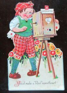"""1931 MECHANICAL DIE CUT Valentine's Card CHAP MAKING MOVIE - """"REEL"""" SWEETHEART"""