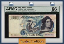 TT PK 118 1997 ITALY BANCA D'ITALIA 500000 LIRE PMG 66 EPQ GEM UNCIRCULATED!