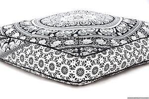 "Black & White Elephant Mandala Square Floor Pillow Cover Cushion Sham Indian 35"""