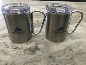 Ozark Trail Stainless Steel COFFEE MUG with Carabiner Handle & Lid, 17 oz. Set 2