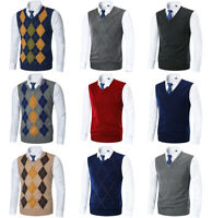 Mens Argyle Sweater Vest Golf Knitted Tank Top V-Neck Sleeveless Pullover