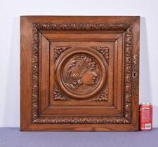 *French Antique Renaissance Architectural Panel Door Solid Oak Wood w/Woman 2