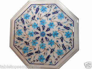 1'x1' White Marble Coffee Table Top Turquoise Inlay Mosaic Marquetry Decor Gifts