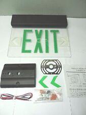 Green LED Emergency Exit Light Sign Ceiling Edge Lit Battery Backup Black Single