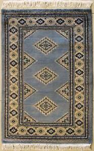 Rugstc 2x3 Bokhara Jaldar Grey Area Rug, Hand-Knotted,Geometric with Wool Pile