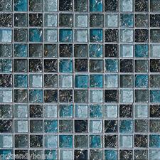 Sample- Blue Glass Mosaic Tile Crackle Kitchen Backsplash Bathroom Wall Sink Spa