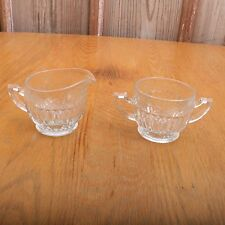 Vintage Glass Line Lenticular Linear Pattern Clear Cream and Sugar
