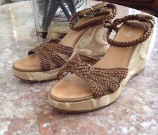 Authentic Coach A3167 Arianna Wedge Brown Sandals Shoes Size 81/2 M