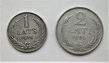 LATVIA 1 and 2 LATI 1924 1925 two silver .835 coins