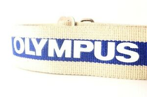 Olympus Genuine Vintage Woven Camera Strap Blue & White Logo Leather Accent  JP