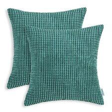 2Pcs Cushion Covers Pillows Case Corduroy Corn Striped Home Decor 55 x 55 Teal