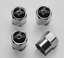 Chevrolet Black & White Tire Valve Stem Caps Wheel Set of 4 Free Shipping